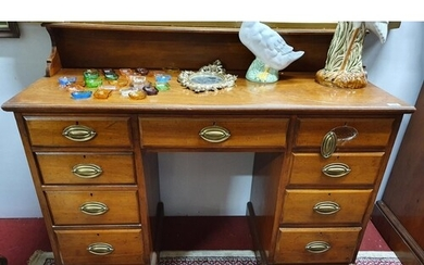 A Fantastic 19th Century Walnut Kneehole Desk with centre dr...
