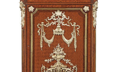 A French 19th century gilt bronze mounted rosewood, bois satine and tulipwood parquetry meuble d'appui or pier cabinet