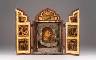 A LARGE AND FINE TRIPTYCH SHOWING THE KAZANSKAYA MOTHER OF...