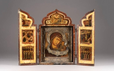 A LARGE AND FINE TRIPTYCH SHOWING THE KAZANSKAYA MOTHER...