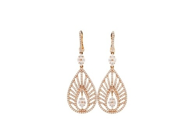 A PAIR OF DIAMOND EARRINGS, the openwork panels modelled as ...