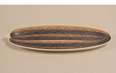 A Poole Pottery 1950s Freeform leaves decorated serving dish...