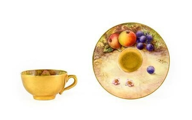 A Royal Worcester Porcelain Miniature Coffee Cup and Saucer, by...