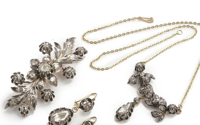 A diamond jewellery set comprising a brooch, a necklace and a pair of ear pendants set with numerous rose-cut diamonds, mounted in 18k gold and silver – Bruun Rasmussen Auctioneers of Fine Art