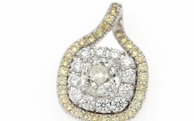 NOT SOLD. A diamond pendant set with a cushion-cut diamond weighing app. 1.28 ct. encircled...