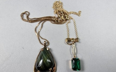 A gold mounted gemset pendant and a 9ct gold emerald glass p...