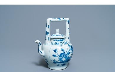 A large Chinese blue and white 'birds' wine ewer and cover, ...