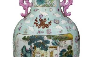 A large Chinese porcelain famille rose vase, late 19th century, decorated to the body with two large recessed panels, one containing a scene from The Romance of the Three Kingdoms (sanguo yanyi) with Zhuge Liang playing the qin while Liu Bei...