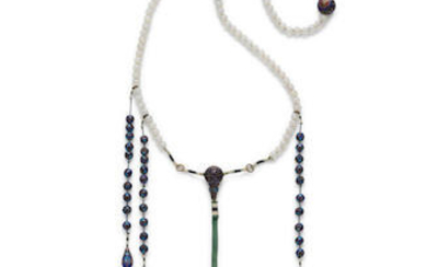 A large opaque white glass and enamel bead necklace, Chao Zhu