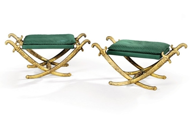 A pair of Empire style gilt-bronze tabourets, late 19th century/early 20th century, after a model by Francois-Honoré-Georges and Georges Jacob