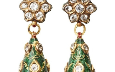 A pair of diamond set and enamelled gold earrings, India, 19th century, formed of a flower head set with diamonds, a drop shape suspended below decorated with green, red and white enamel and set with further diamonds, total weight 17 grams