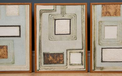A set of three art pottery ceramic tile pictures