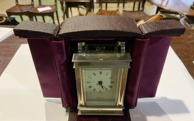 A sterling silver carriage clock by Mistas in fitted velvet ...