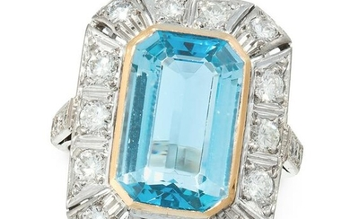 AN AQUAMARINE AND DIAMOND DRESS RING in 18ct white gold