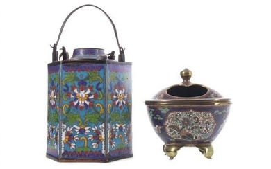 AN EARLY 20TH CENTURY CHINESE CLOISONNÉ TEAPOT AND COVER, ALONG WITH AN INCENSE BURNER