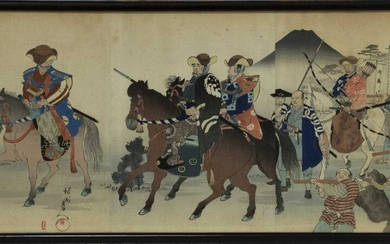 AN EARLY 20TH CENTURY JAPANESE WOODBLOCK PRINT TRIPTYCH