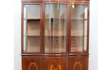 An Edwardian Inlaid Mahogany Display Cabinet, with stepped c...