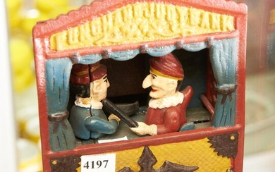 CAST IRON PUNCH & JUDY MECHANICAL MONEY BOX, LEONARD JOEL LOCAL DELIVERY SIZE: SMALL