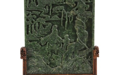 Chinese Green Jade Carved Table Screen, Qing Dynasty DEC3