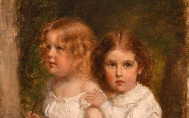 Continental school circa 1890, a study of two young girls in...