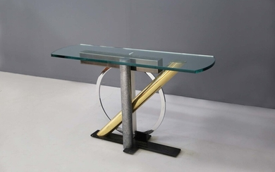 DIA. Glass and brass consolle table. 1960s