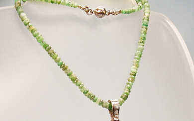 EMERALD NECKLACE WITH ONYX PENDANT signed DAVID SIGAL.