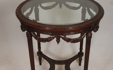 Empire style side table - wood / glass.