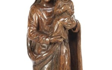 (-), Wooden sculpture group of Madonna with child,...