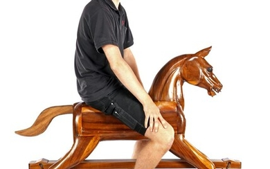 (-), Wooden rocking horse made of different types...