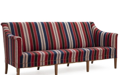 Kaare Klint: Freestanding three seater sofa with mahogany legs. Upholstered with blue, red and white striped savak wool. – Bruun Rasmussen Auctioneers of Fine Art