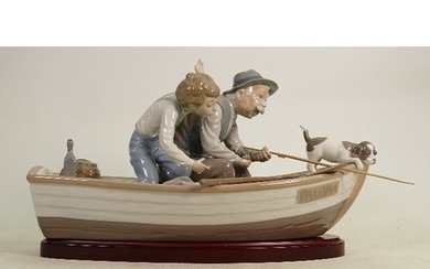 """Lladro large figure group """"Fishing with Gramps"""": On wooden b..."""