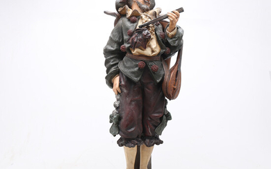 """""""Musician"""", polychrome terracotta sculpture, early 20th Century."""