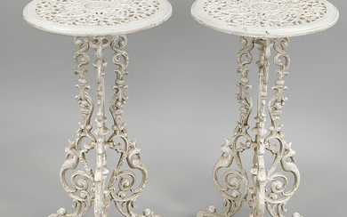 Pair of side tables, 19th/20th c., cast iron,...