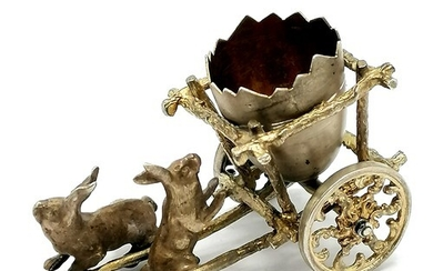 Silver miniature study of 2 rabbits pulling an egg carriage ...
