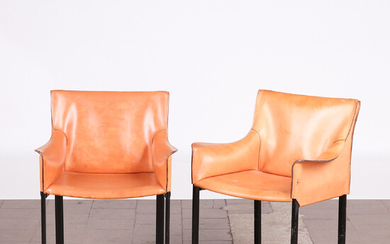 Two chairs, metal, leather, Italy (2).