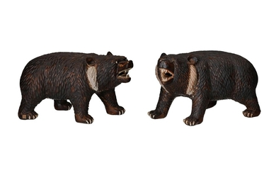 (-), Two painted earthenware black bears. Marked with...