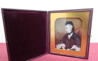 Victorian miniature portrait study of a lady, seated half le...