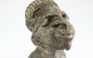 """West African carved stone bust, 12""""h"""