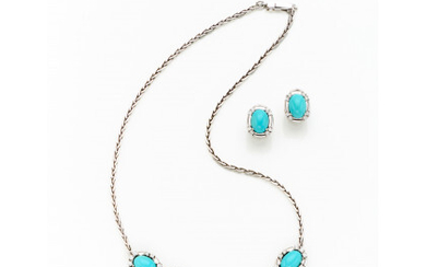 White gold lot consisting of a necklace and earrings finished with oval cabochon turquoise and round brilliant cut diamonds in…Read more
