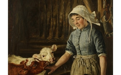 William Woodhouse (1857-1935) Young Calves and Maid, signed,...