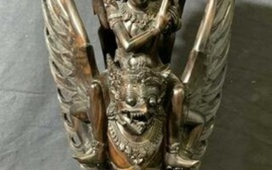 Wooden Sculpture of Two South East Asian Deities