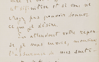 """Zola (Émile) 2 Autograph Letters signed to """"Sir"""", in French, 1892, """"Mademoiselle Blaze de Cury has sent me the cheque for 10 livres, in payment for the exclusive rights of translating and publishing in English my novel 'The Attack of the Moulin'"""", and..."""