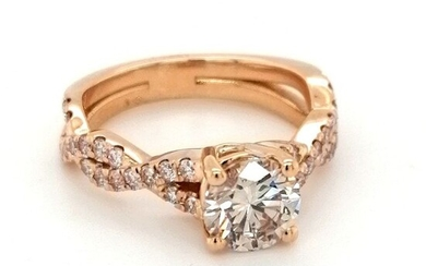 ***no reserve price** Pink gold - 18k Beautiful ring with natural diamonds 1.70ct