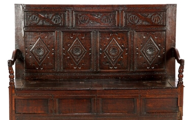 (-), 18th century solid oak bench with stitching...