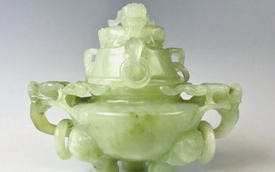 19th C. Chinese Qing Dynasty Carved Jade Censor