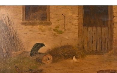 19th century English school, A farmyard scene with two birds...