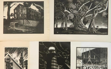5 Cleveland Print-A-Month wood engravings