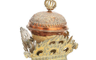 A BRONZE AND COPPER-MOUNTED KAPALA AND COVER ON STAND