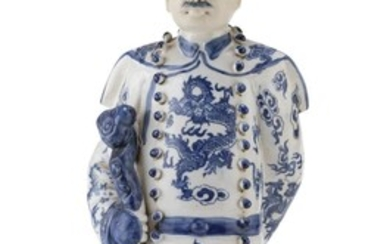 A CHINESE WHITE AND BLUE PORCELAIN SCULPTURE 20TH CENTURY.