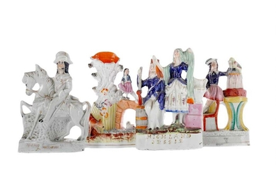 A COLLECTION OF FOUR MID-19TH CENTURY STAFFORDSHIRE FLATBACK FIGURES